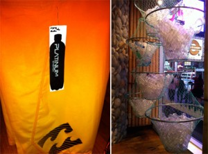 Billabong Plastic Bottles Display Time Square and Board Shorts